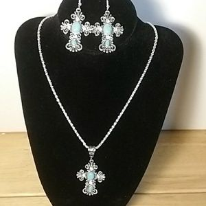 Antique Cross Set with semi precious Stones